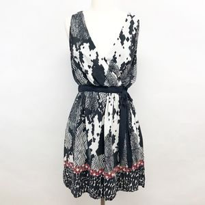 anthro | line & dot faux wrap abstract dress sz L